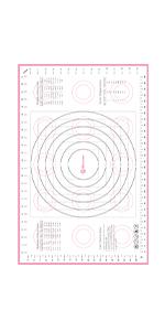 X-Large Pink Pastry Mat Comparison Chart
