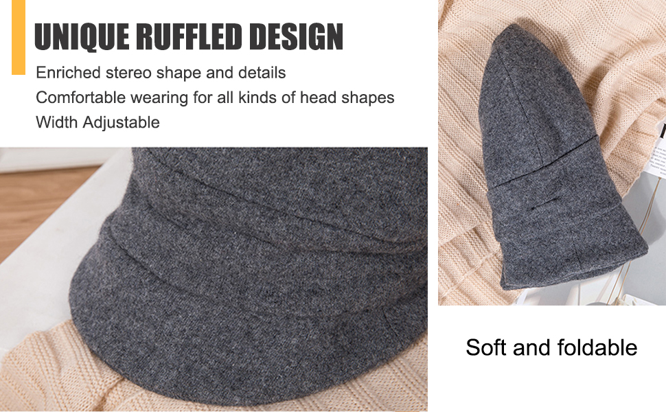 ruffled foldable design enriched stereo shape with details comfortable wearing adjustable size