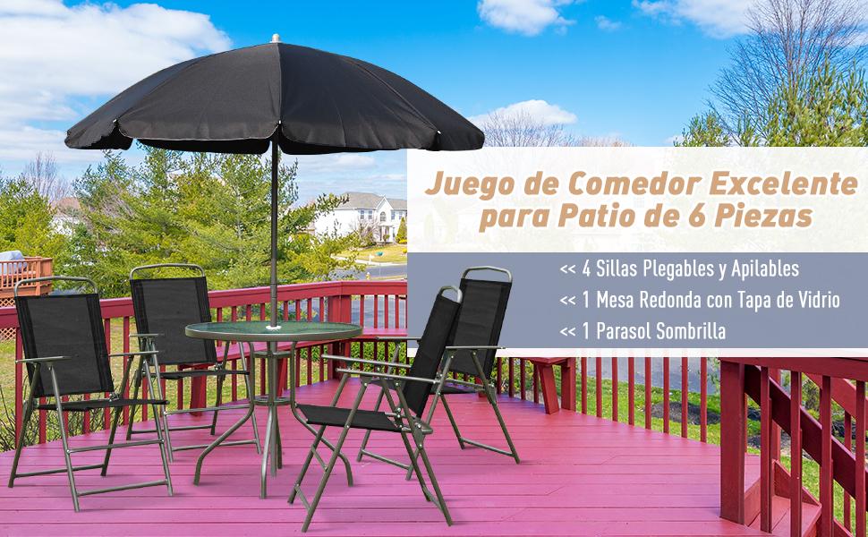Outsunny Conjunto de Muebles para Jardín con 4 Sillas 1 Mesa y 1 ...