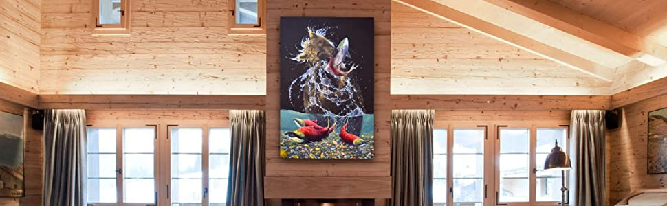 Sockeye Living Room Staging Home Decor Rustic Cabin Western North American Amazon Banner