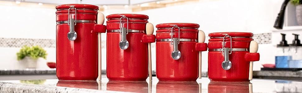Canister, Food storage, food, spoon and jar, jar, wood spoon, red jar, ceramic jar