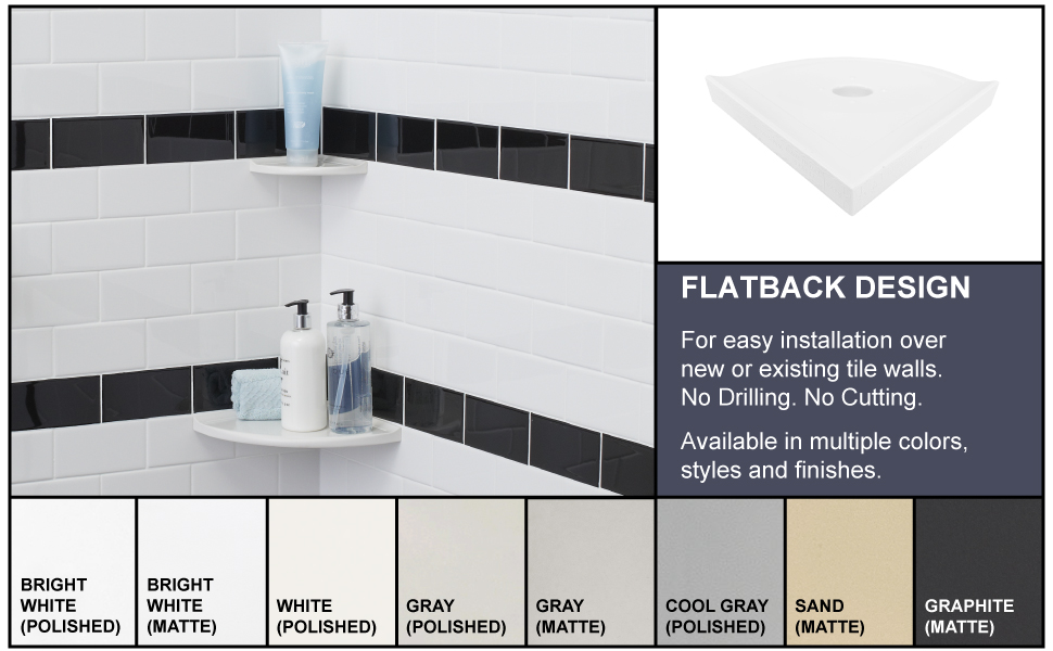 metro collection of flatback shower corner shelves