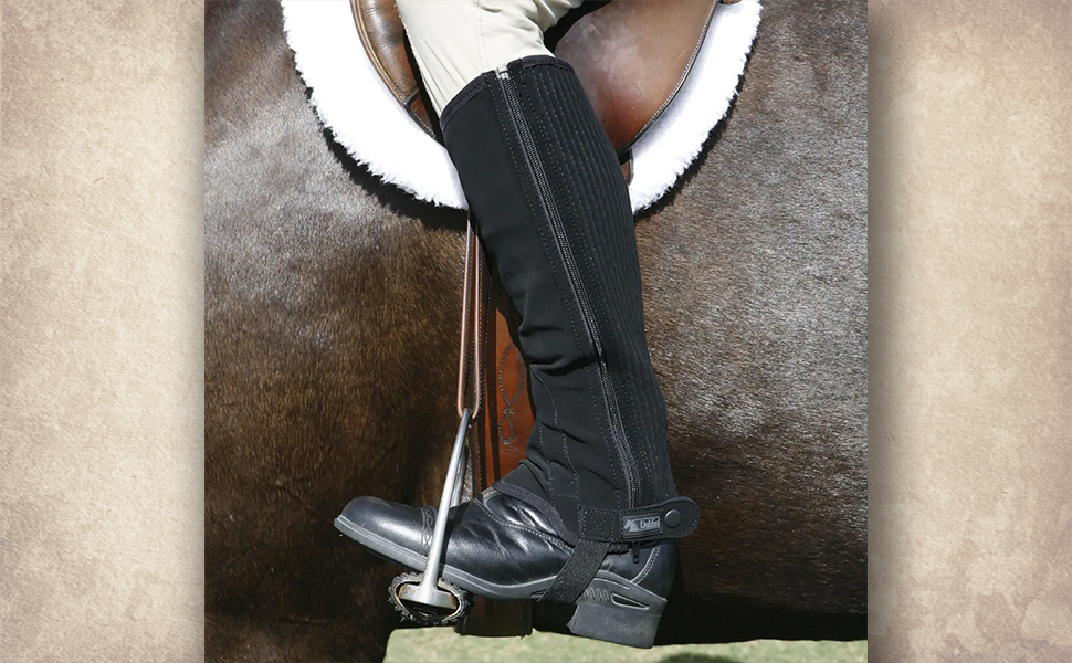 image of one leg wearing the chaps while in the saddle