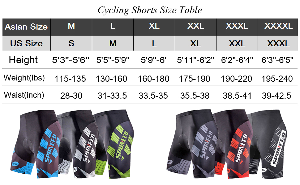 Size for bicycle shorts