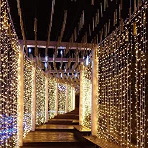 Amazon Com Image 8 Modes Curtain Lights 9 8x9 8 Foot 300led Curtain String Lights Fairy Lights For Home Garden Bedroom Wedding Party Backdrops Decor With Full Waterproof And Ul Safety Warm White