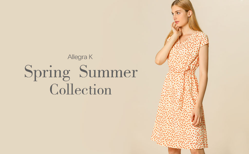 Allegra K Women's V Neck Printed Belted A-line Dress