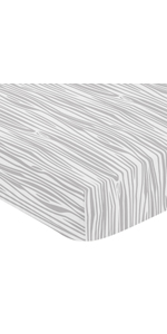 Grey and White Woodland Wood Grain Baby or Toddler Fitted Crib Sheet for Rustic Patch Collection