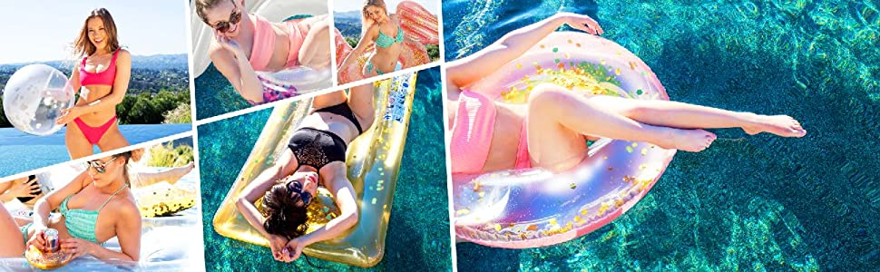 Rose Gold Collection tube fun in pool