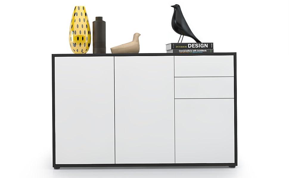 Kommode Sideboard Anrichte Schrank Ben V2  in Schwarz Hochglanz und Naturtöne