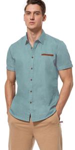 Short Sleeve Button up Shirts for Men (Celadon Green)