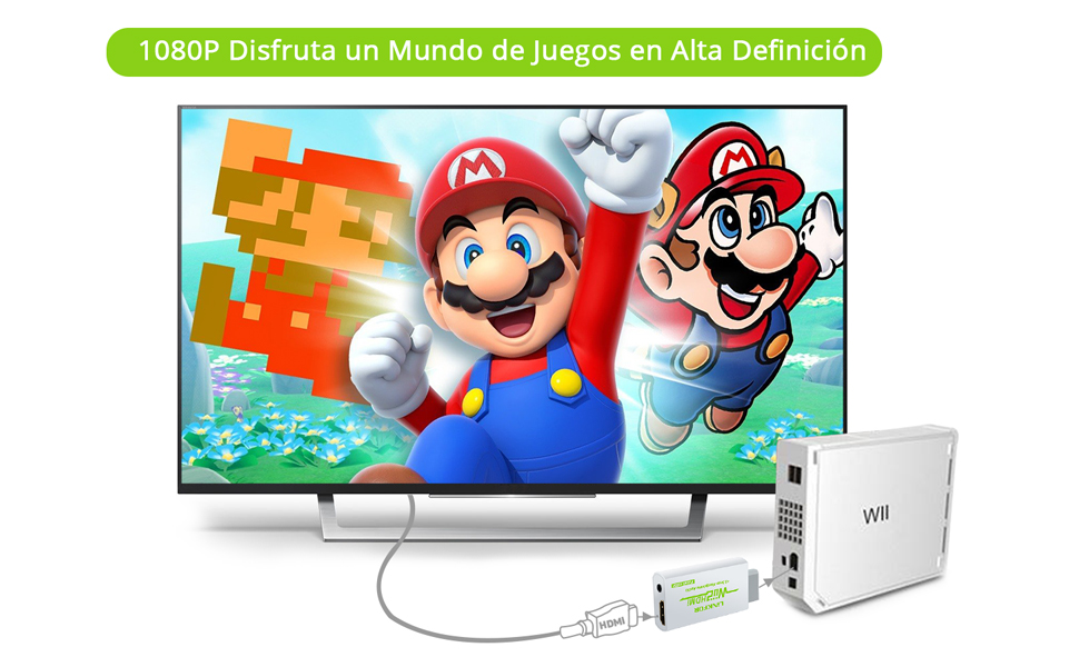 LiNKFOR - Convertidor de HDMI de Wii a HDMI con cable HDMI de 3 pies/conversor de Wii a 720p y 1080p HDMI: Amazon.es: Electrónica