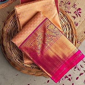 Peach Pink wedding under 1000 with border golden party wear net blouse sarres sadi sarees saree