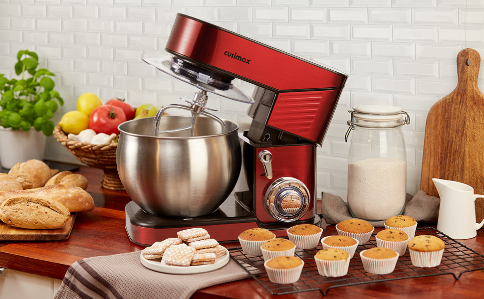 cusimax stainless steel stand mixer red