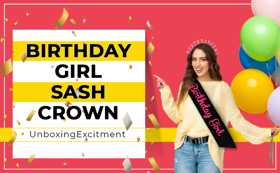 Birthday Girl Sash & Brithday Girl Crown Tiara Rose Gold Birthday Girl Head Band Combo SPN-FOR1