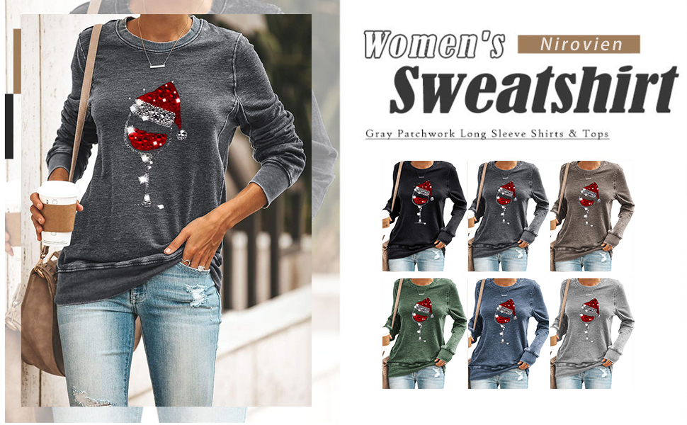 Womens Pullover Tops Merry Christmas Love Graphic Printed Crewneck Long Sleeve Casual Sweatshirts Sweater Tunics Tops