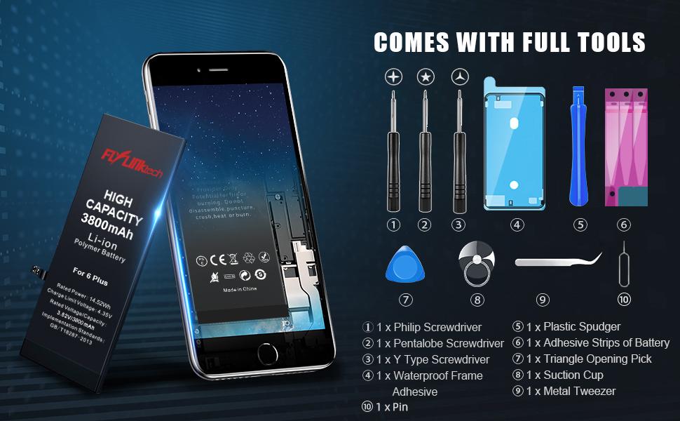 Batería para iPhone 6 Plus 3800mAH con 31% más de Capacidad Que la batería Origina, FLYLINKTECH Reemplazo de Alta Capacidad Batería para iPhone 6 Plus ...