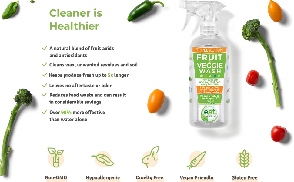 eat cleaner food grade veggie fruit vegetable produce wash sanitize organic natural raw fresh spray