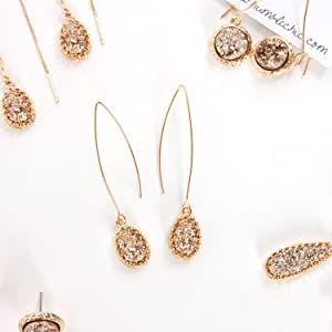 Humble Chic Simulated Druzy Needle Drops - Gold-Tone Threader Upside-Down Hoop Dangle Earrings