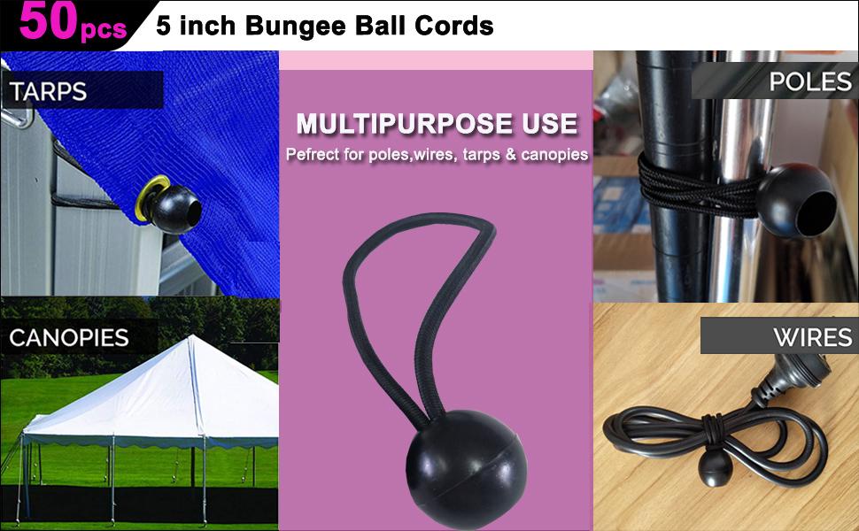 environ 12.70 cm Black Tie Down cordons pour bâche auvent Shelte... Ball Bungee Cords 50 Packs 5 in