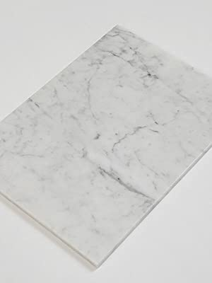 Soulscrafts Natural Carrara Bianco Marble Pastry Cheese And Cutting Board 16x12x0.5 Inch