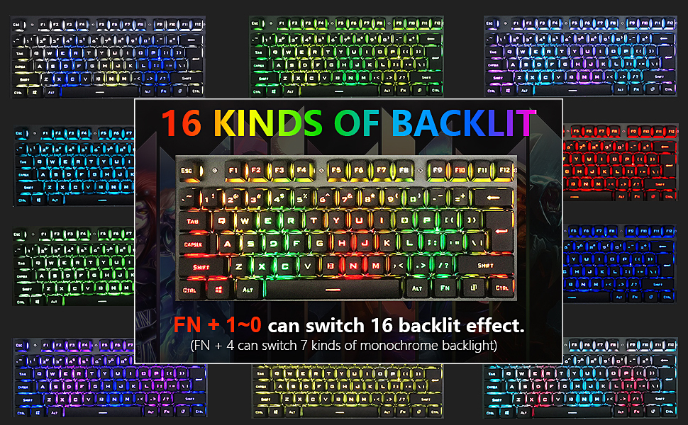 16 kinds of backlight gaming mechanical keyboard and mouse and mousepad set