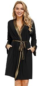 Donna Accappatoio Vestaglia Lungo Kimono Cotone