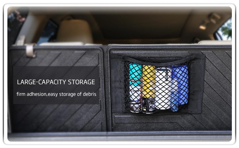 Porfeet Car Cargo Net Car SUV Rear Seat Back Hanging Net Trunk Cargo Luggage Storage Elastic Mesh
