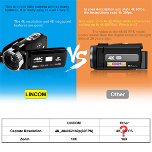 Flashandfocus.com 4c8ff991-1fcd-4a18-829a-348e346a242d.__CR0,0,300,300_PT0_SX300_V1___ 4K Video Camera Camcorder with Microphone 30FPS 48MP Vlogging Camera with Rotatable 3.0 Touch Screen and Time-Lapse…