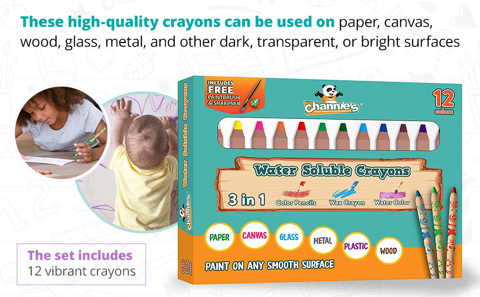 These high-quality crayons can be used on paper, canvas, wood, glass, metal, and other dark