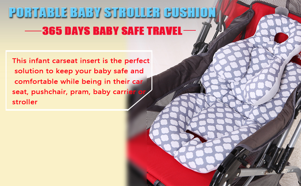 Infant Car Seat Insert Cactus Infant Seat Pad Carseat Neck Support Cushion for Toddler Purple KAKIBLIN Cotton Baby Stroller Liner Pram Head and Body Support Pillow