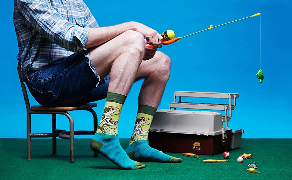 mens novelty funny fun socks fishing fish bass outdoors camping lake