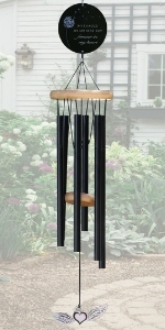 Black memorial wind chime with forget me not flower design and poem