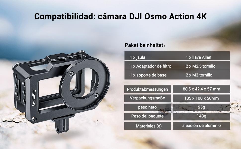SMALLRIG Cage para dji Osmo Action - CVD2360: Amazon.es: Electrónica