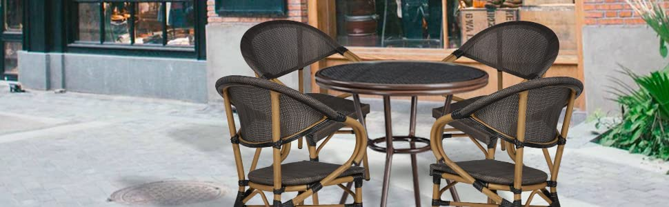 Stackable Outdoor Patio Dining Chairs Set of 4 Aluminum Frame Balcony Textilene Mesh