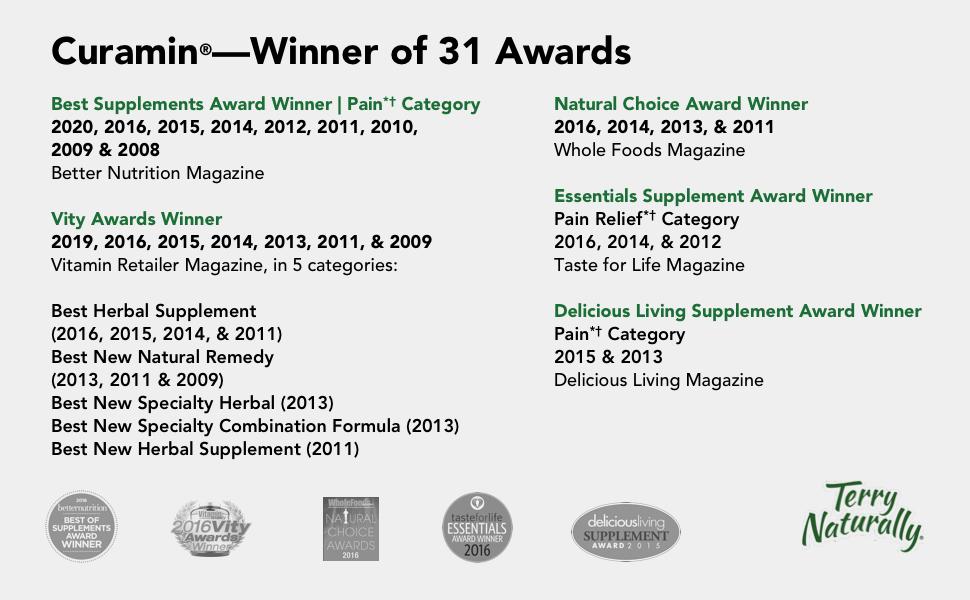 curamin, pain relief, best supplement, vity award