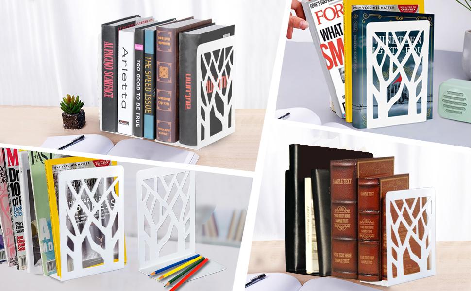 Bureaux /Écoles Serre-Livres Innovant Presse Livre 1 Paire Serre Livre - Bloc Livre pour Enfants Librairie et Biblioth/èque Cale Livre en M/étal Salons INN/ÔPLUS Serre Livres Blanc