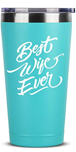 Best Wife Ever - 16 oz Mint Insulated Stainless Steel Tumbler w/Lid Mug Cup - Birthday Valentines