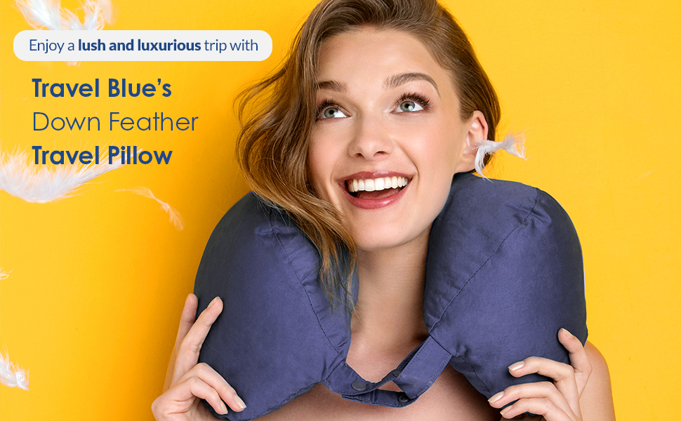 Enjoy a lush and luxurious trip with Travel Blue's Down Feather Travel Pillow
