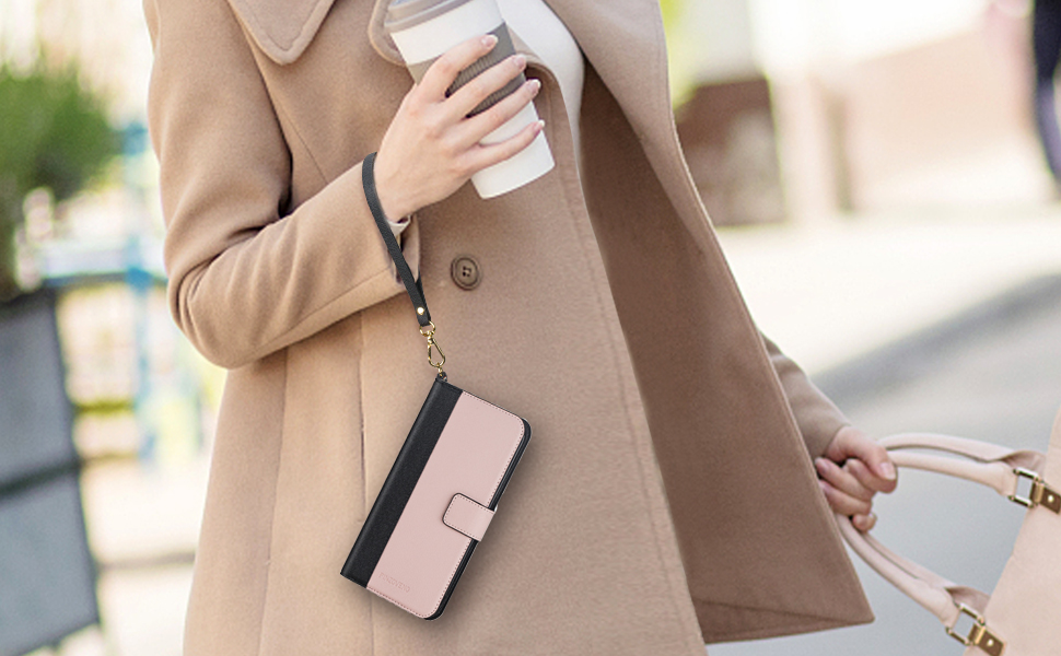 iphone se 2020/7/8 wallet case with wrist strap