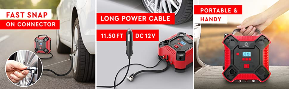 Portable Air Compressor with Long Power Cable