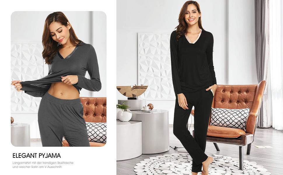 ADOME Damen Elegant Schlafanzug V-Ausschnitt Zweiteiliger Langhose Pyjama Weich Hausanzug