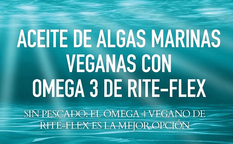 Rite-Flex, Omega-3 Vegano, Aceite de Algas Marinas, Complemento Alimenticio de EPA y DHA (30 Cápsulas Líquidas)