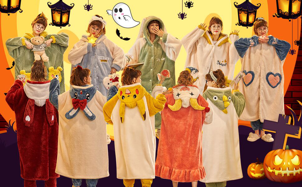 YAOMEI Unsex Mens Womens Dressing Gown Full Length Hooded Bathrobe Robe Nightwear Sleepwear Pyjamas