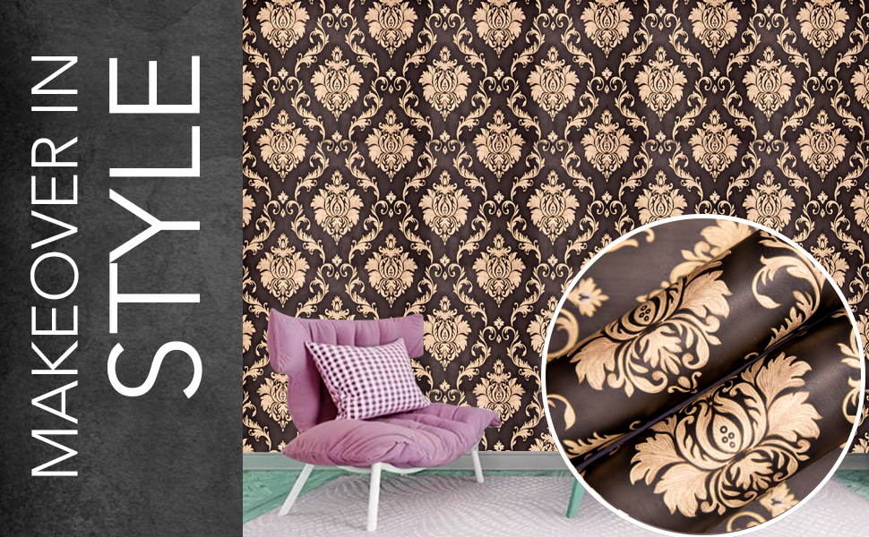 wolpin decal damask wall stickers wallpaper for living room, bedroom, furniture, door, self adhesive