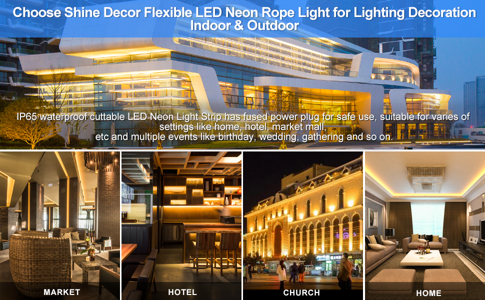 Shine Decor 3000K Warm White LED Neon Rope Light