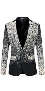 MOGU Men's One Button Blazer Wool Jacket