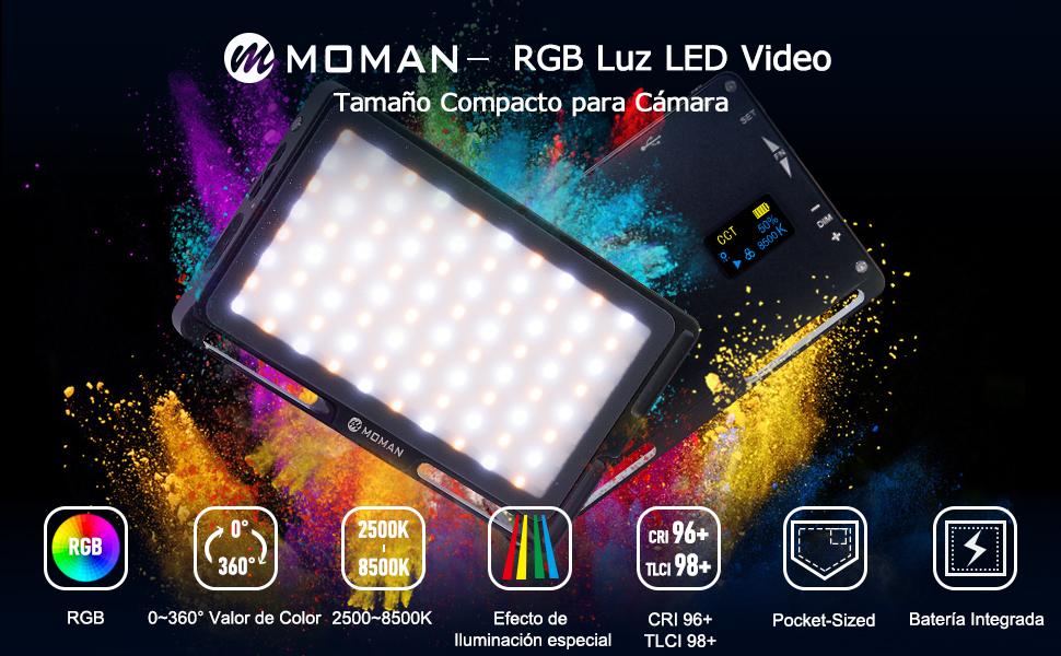 Moman RGB Antorcha Led Video, Foco Led Camara con Batería ...