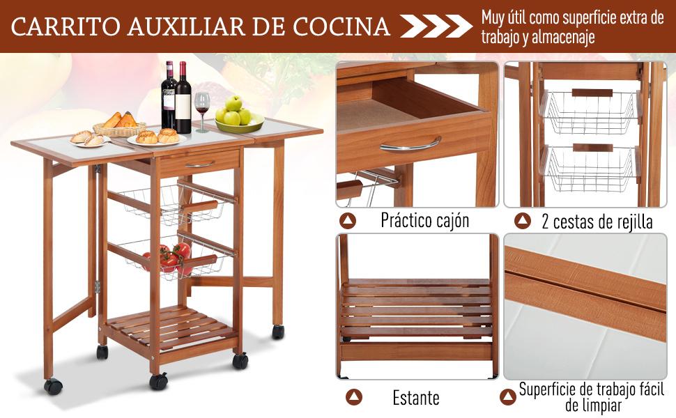 HOMCOM Mesa Auxiliar Cocina 91x37x75 cm Plegable 6 Ruedas 1 Cajon ...