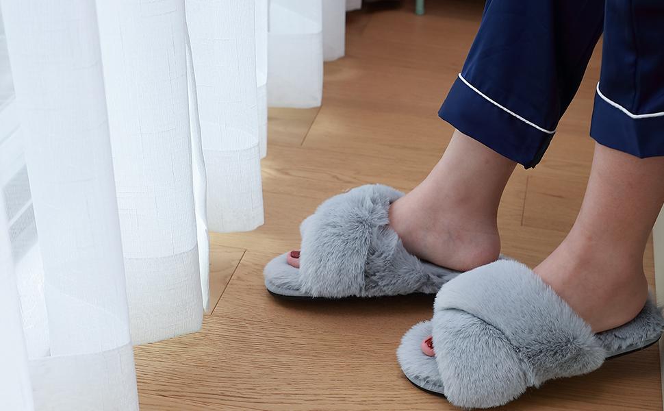 womens house slippers fuzzy fluffy memory foam cozy open toe slippers