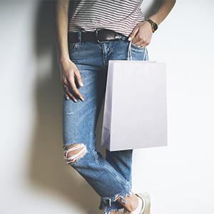 "BagDream 8X4.25X10.5"" White Gift Bags w/Tags 50PCS"